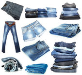 Jeans collage isolated on white — Stock Photo