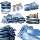 Collage of jeans isolated on white — Stock Photo