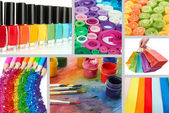 Collage of photos in rainbow colors — Stock fotografie