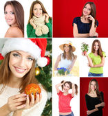 Collage of portraits young beautiful girl — Stock Photo