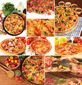 Collage of various pizza — Stock Photo