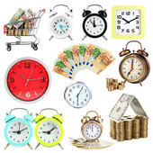 Collage of clocks and money isolated on white — Zdjęcie stockowe