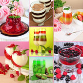 Collage of different fruit jelly — Stock Photo