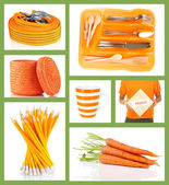 Collage of photos in orange color — Stock Photo