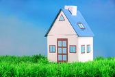 Kleines Haus auf grünem Gras, auf hellem Hintergrund — Stockfoto