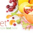 Sweet fresh fruits in bowl on table close-up — Stock Photo #42597107