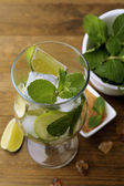 Ingredients for lemonade, on wooden table — Stock Photo