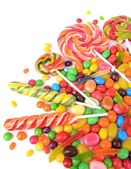 Different colorful fruit candy close-up — Stock Photo
