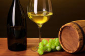 In wine cellar. Composition of wine bottle and runlet — Stock Photo