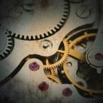Clockwork details, pinions and wheels closeup — Stock Photo #42754319