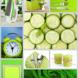 Collage of photos in green color — 图库照片