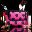 Professional make-up tools on black background — Stok fotoğraf #42757637