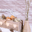 Beautiful Easter composition on wooden table — Stock Photo #42758029