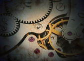Clockwork details, pinions and wheels closeup — Stock Photo