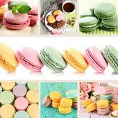 Tasty macaroons collage — Stock Photo