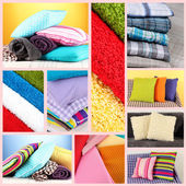 Collage of plaids and color pillows — Stok fotoğraf