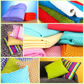 Collage of plaids and color pillows — Foto de Stock