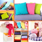 Collage of plaids and color pillows — Stock fotografie