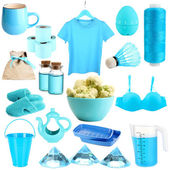 Collage of photos in blue colors isolated on white — Stock Photo