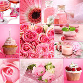 Collage of photos in pink colors — Stock Photo