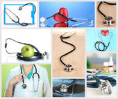 Collage of medical stethoscope — Stock Photo