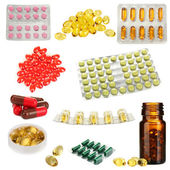 Collage of pills isolated on white — Stok fotoğraf