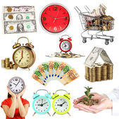 Business collage. Concept of time and money — Stok fotoğraf