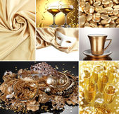 Collage of photos in gold colors — Zdjęcie stockowe