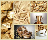 Collage of photos in gold colors — Foto de Stock