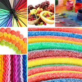Collage of photos in rainbow colors — Zdjęcie stockowe