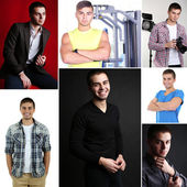 Collage of portraits young handsome man — Stock Photo