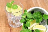 Ingredients for lemonade on wooden table — Foto Stock