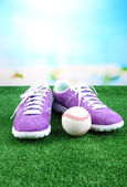 Beautiful gumshoes and baseball ball on green grass, on bright background — Stok fotoğraf