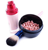Composition with concealer, powder balls and brush isolated on white — Stock Photo