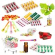 Collage of pharmaceutical products isolated on white — Stock Photo #42767145