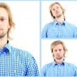 Collage of handsome emotional man isolated on white — Stock Photo