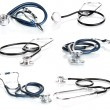 Collage of medical stethoscope isolated on white — Stock Photo