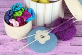 Decorative boxes with colorful skeins of thread on wooden background — Stock Photo