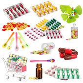 Collage of pharmaceutical products isolated on white — Stock Photo