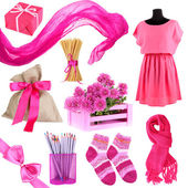 Collage of photos in pink colors isolated on white — Stock Photo
