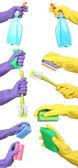 Czyszczenie elementów w ręku na białym tle na biały — Zdjęcie stockowe