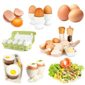Collage of eggs isolated on white — Stock Photo