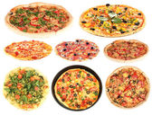 Collage of various pizza isolated on white — Stock Photo