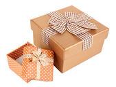 Gift boxes isolated on white — Stock Photo