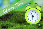 Green alarm clock on grass on natural background — Стоковое фото