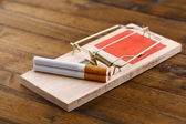 Mousetrap with cigarette, isolated on white — Stock Photo