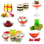 Collage of different fruit jelly isolated on white — Stock Photo
