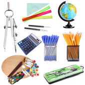 Collage of school supplies isolated on white — Stock Photo