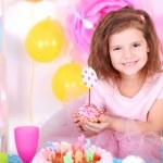 Pretty little girl celebrate her birthday — Stock Photo