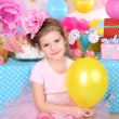 Pretty little girl celebrate her birthday — Stock Photo